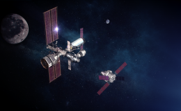 Photo of 2 spacecraft in orbit against a dark atmosphere with the moon in the background