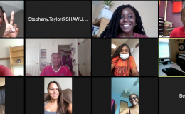 Collage of faces using an online meeting tool