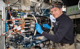 Astronaut David St. Jacques of the Canadian Space Agency works on the Combustion Integrated Rack (CIR) used in the ACME Flames Project.