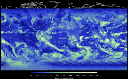 Satellite map image of the earth showing solar radiation in green