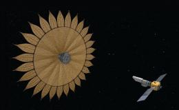 Illustration of deployed spacecraft and telescope in space
