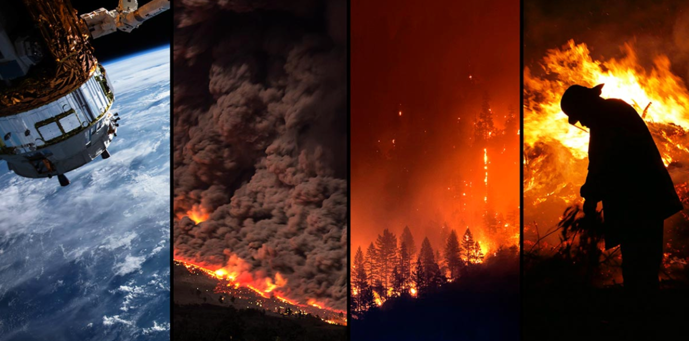 Image collage of satellite orbiting earth and three large forest fires