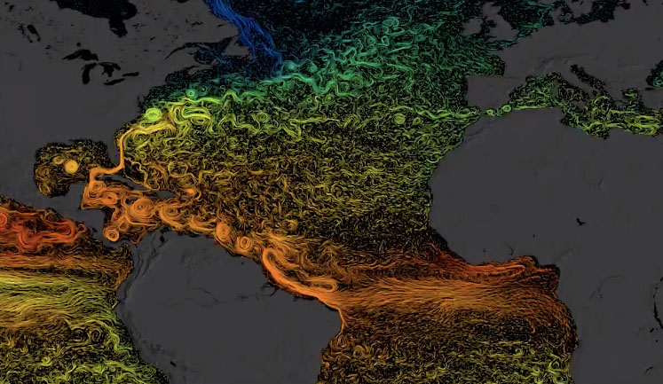 Visualization of global sea surface currents